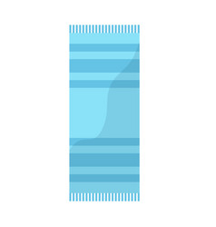 Blue towel with striped pattern beach icon image vector