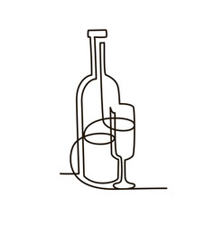 bottle and glass wine continuous line vector image