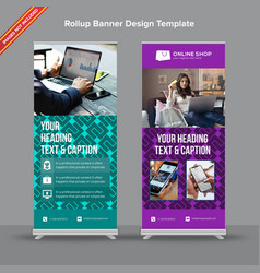Bright geometrical rollup banner in jade and lilac vector