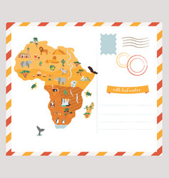 Bright postcard with map of africa vector