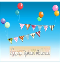 Bunting floating with balloons and sample text vector