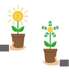 businessman hands holding growing paper money vector image