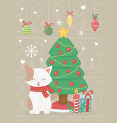cat with tree gifts and balls celebration merry vector image