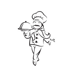 Chef with tray of food vector