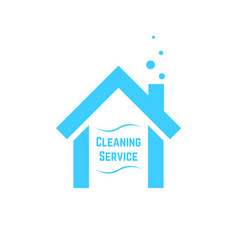 cleaning service icon with blue house vector image