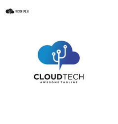 cloud tech logo cloud computing with technology vector image