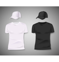 Collection of men black and white t-shirt and vector image