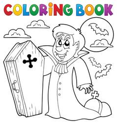 Coloring book vampire theme 4 vector