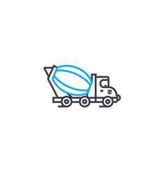concrete mixer thin line stroke icon vector image