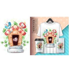 Cute bird in toilet poster and merchandising vector