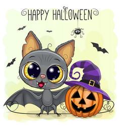 Cute cartoon bat with pumpkin vector