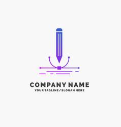 design pen graphic draw purple business logo vector image