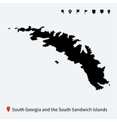 Detailed map south georgia and sandwich islands vector