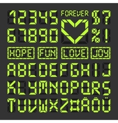 Digital led font alphabet letters and numbers vector