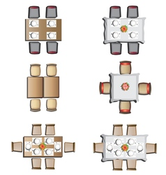 Dining furniture top view set 1 vector