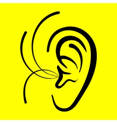 Ear on a yellow background vector