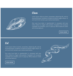 Eel and clam seafood vintage vector