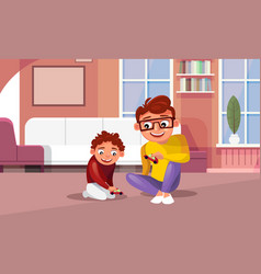 Father playing toy cars with son at home in living vector