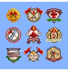 Firefighters Emblems Labels Collection vector