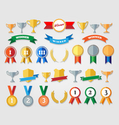 Flat trophy cup and award icons vector