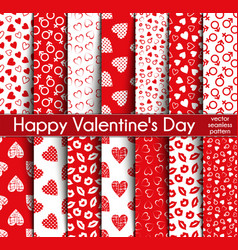 fourteen valentines day seamless patterns vector image