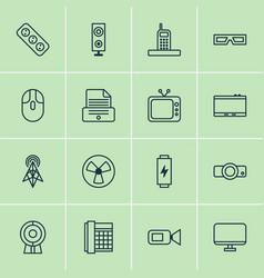 gadget icons set with loudspeaker socket screen vector image