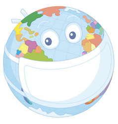 Globe in a protective medical mask vector