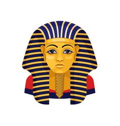 golden mask of tutankhamun pharaoh of ancient vector image