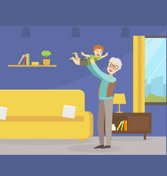 grandfather spending good time with his little vector image