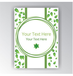Green white beautiful cover circle lable flayer vector
