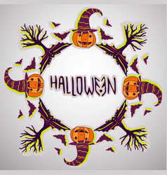 Halloween background pumpkin bats and trees hand vector