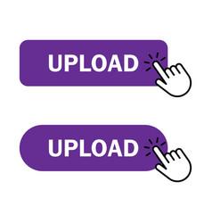 Hand cursor clicks upload button vector