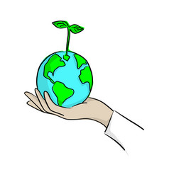 hand planting green earth with plant vector image