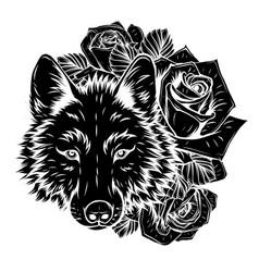 Head wild wolf graphics vector