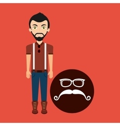 Hipster style character mustaches and eyeglasses vector