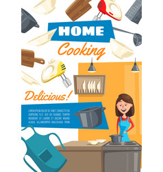 home cooking housewife food preparation service vector image