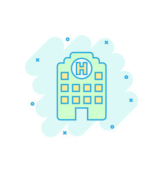 Hospital building icon in comic style infirmary vector