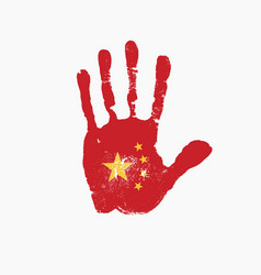 human handprint in colors chinese flag vector image