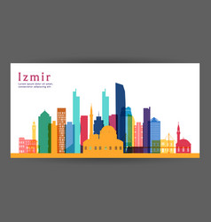 Izmir colorful architecture skyline vector