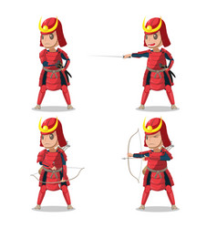 japan samurai red armor character vector image
