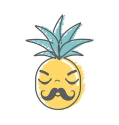 Kawaii cute sleeping pineapple vegetable vector