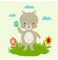 Little cute bacat picking flowers vector