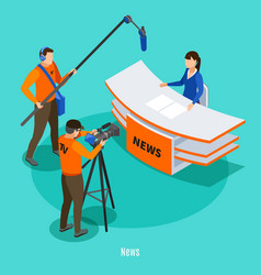 Live news isometric background vector