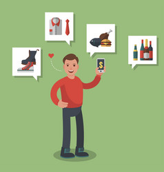 man in red shirt shopping on-line different goods vector image