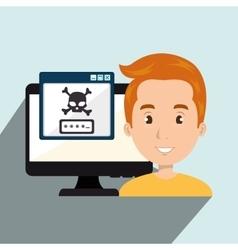 Man pc virus design vector