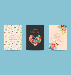 mothers day greeting card set with flowers bouquet vector image