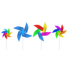 multi colored toy paper windmill propeller vector image