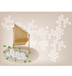 Musical Angklung Orchid Background vector image