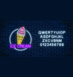 Neon glowing sign of icecream with glaze in vector