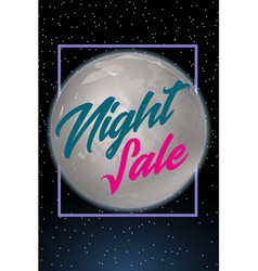 Night sale dark banner sale poster with fool moon vector
